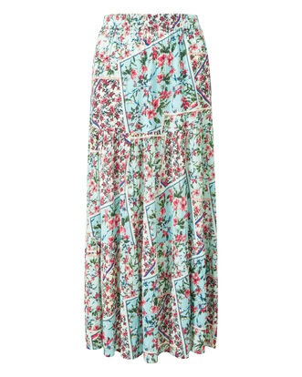 Patchwork Print Print Tiered Maxi Skirt