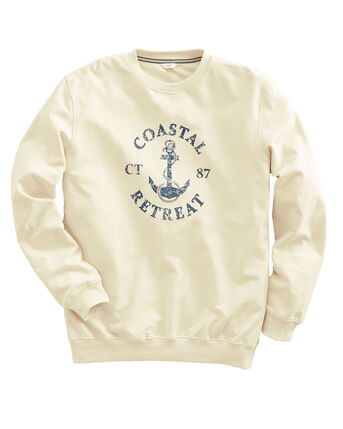 Organic Cotton Printed Crew Neck Sweatshirt