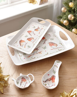 Winter Robin Tray and Tidy Set