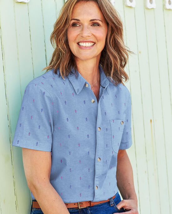 Short Sleeve Printed Chambray Shirt
