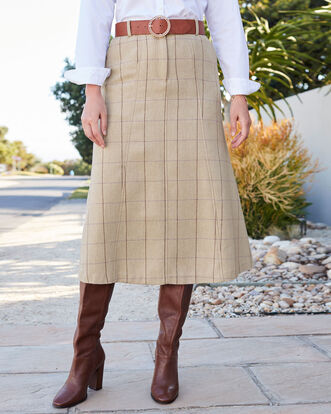 Side Elasticated Waist Check Skirt