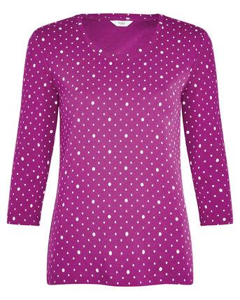 Wrinkle Free 3/4 Sleeve Spot Jersey Top