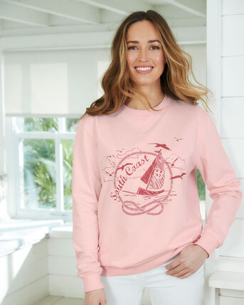 Organic Cotton Printed Crew Neck Sweatshirt