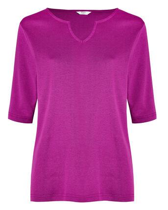 Wrinkle Free 1/2 Sleeve Notch Neck Jersey Top