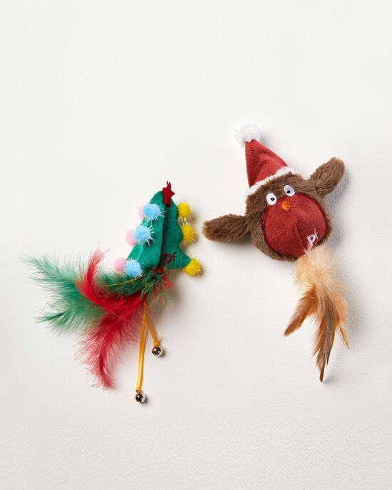 Pack of 2 Robin and Christmas Tree Cat Toys