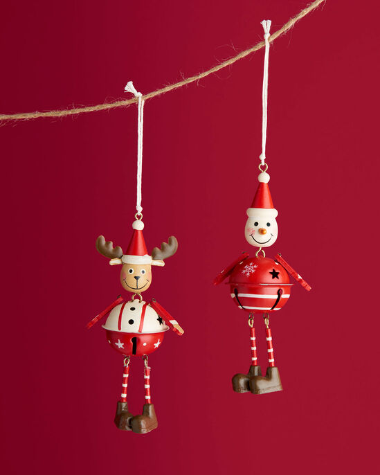 Snowman and Reindeer Hanging Decoration Set
