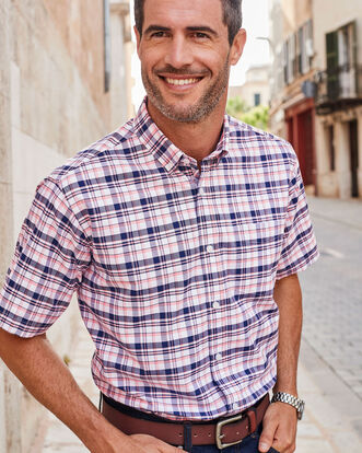 Soft Coral Short Sleeve Classic Oxford Shirt
