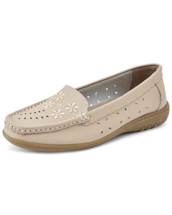 Leather Flexisole Flower Embroidered Loafers
