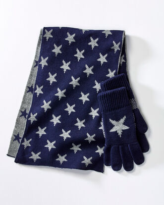Jacquard Star Scarf and Glove Set