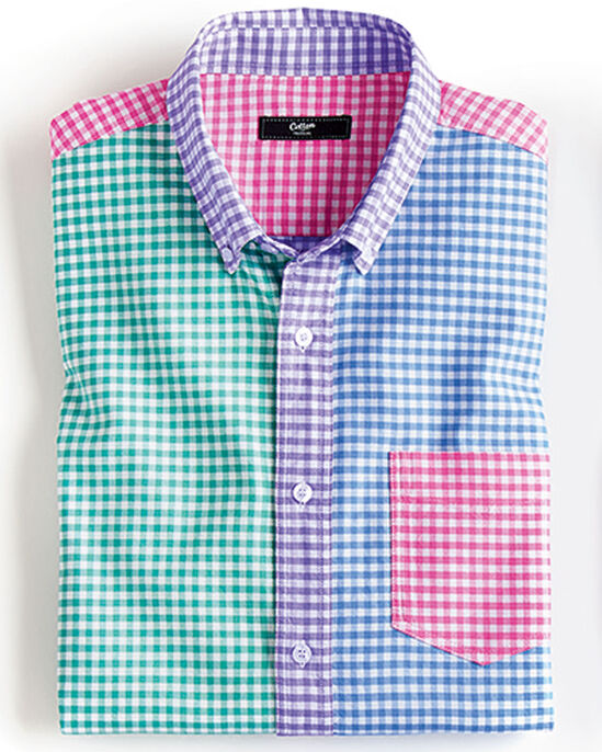 Panelled Short Sleeve Oxford Shirt