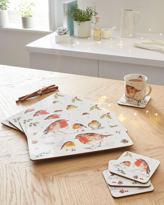 Set of 4 Winter Robin Placemats and Coasters