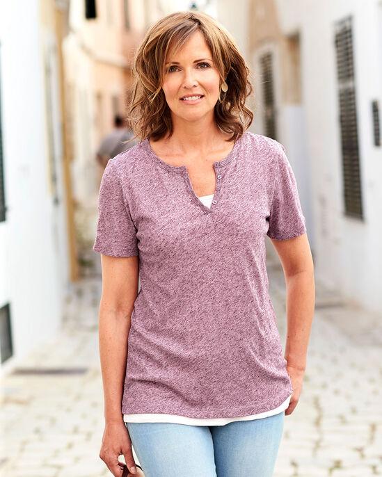 Linen-blend Double Layer T-shirt