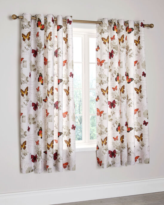 """Butterfly Script Eyelet Curtains 66X72"""""""