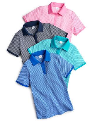 Wrinkle Free Stripe Polo Shirt