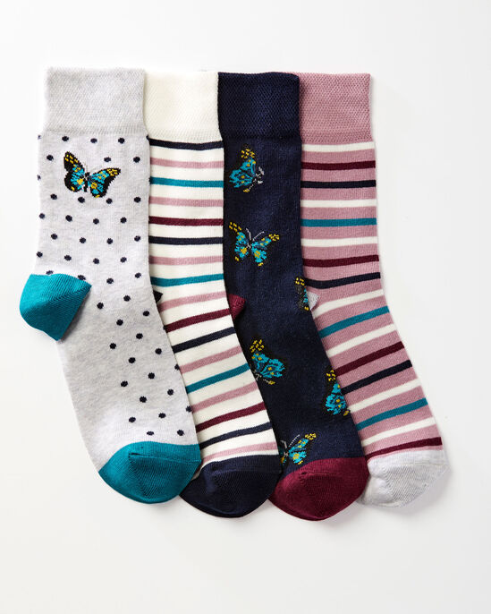 4 Pack Comfort Top Butterfly Socks