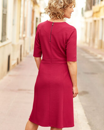 Textured Fit and Flare Midi Dress
