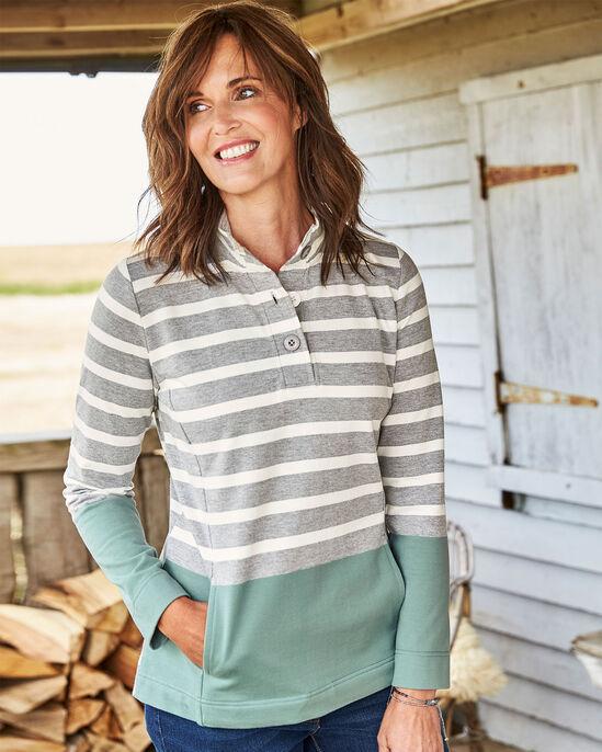 Stripe Button Neck Sweatshirt