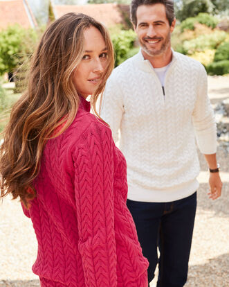 Cotton Cable Knit Half Zip Jumper