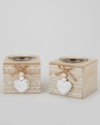 Pack of 2 Wooden Heart Tealight Holders