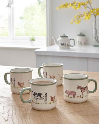 Set of 4 Country Farm Mugs