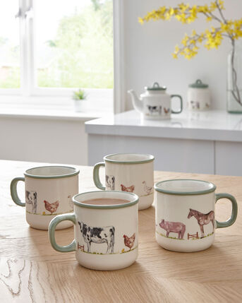 Set of 4 Country Farm Mugs