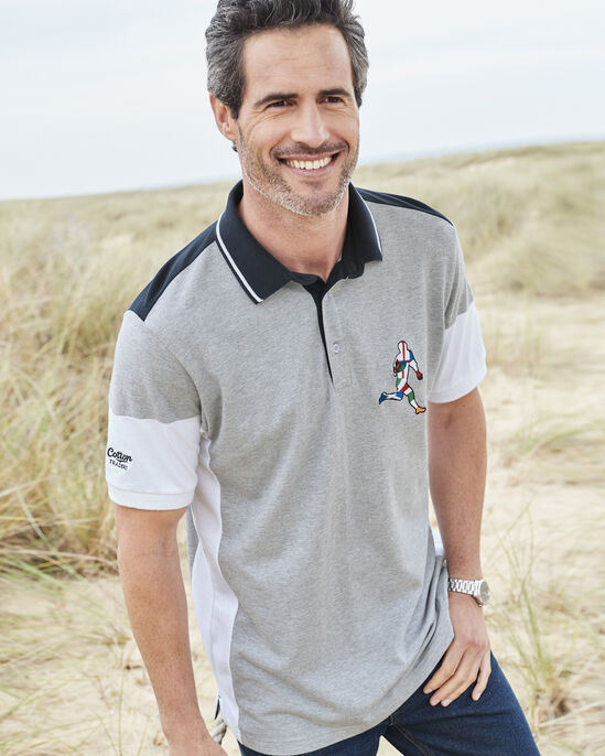 6 Nations Short Sleeve Panelled Polo Shirt