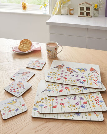 Set of 4 Garden Birds Placemats and Coasters Set