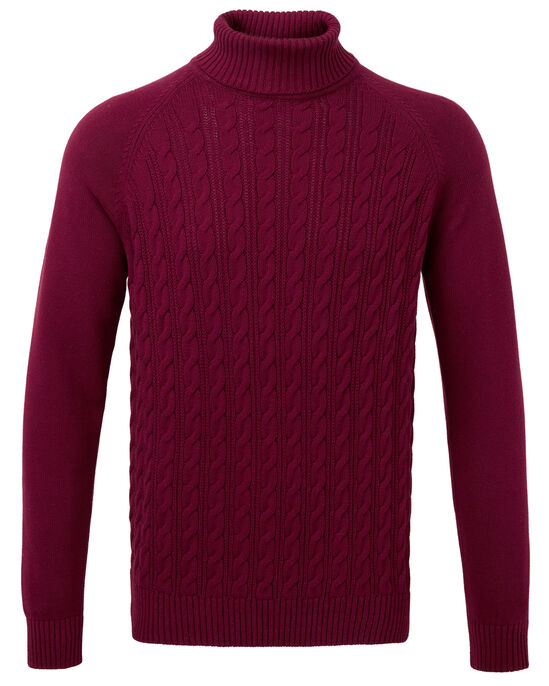 Cotton Cable Turtle Neck Jumper