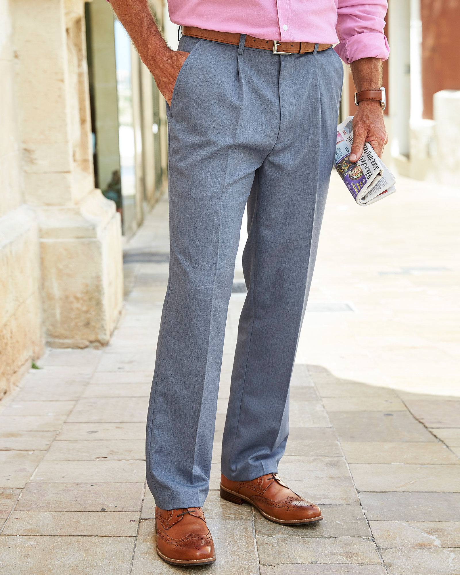Cotton Traders Mens Casual Design Pleat Front Supreme Easy Care Trousers 68.5cm