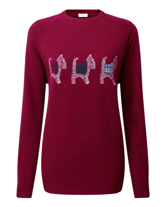 Light Berry Cotton Crew Neck Dog Jumper
