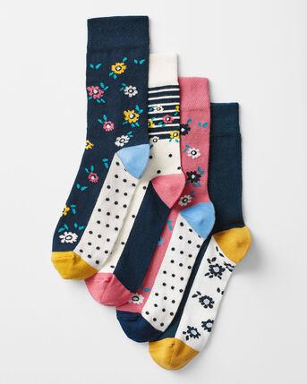 4 Pack Comfort Top Floral Socks