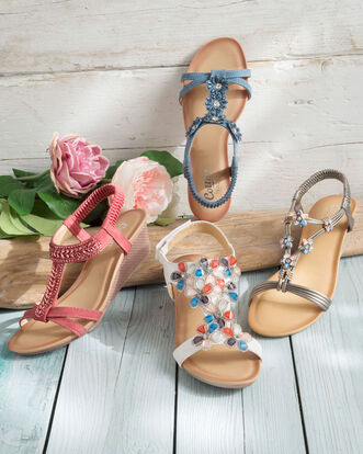 Floral 2 Strap Wedge Sandals
