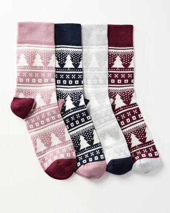 4 Pack Comfort Top Fair Isle Socks