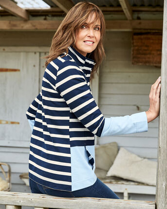 Stripe Button Neck Sweatshirt