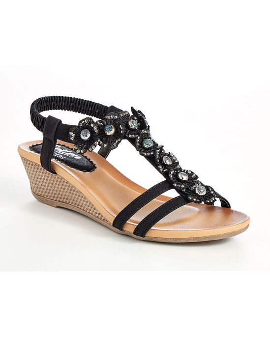 Floral Two-Strap Wedge Sandals