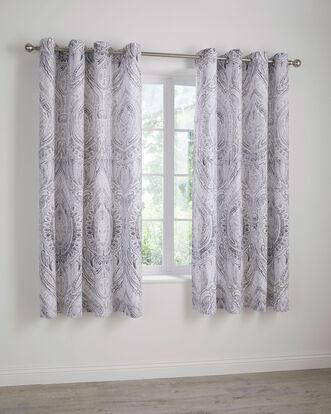 "Paisley Eyelet Curtains 66x72"""