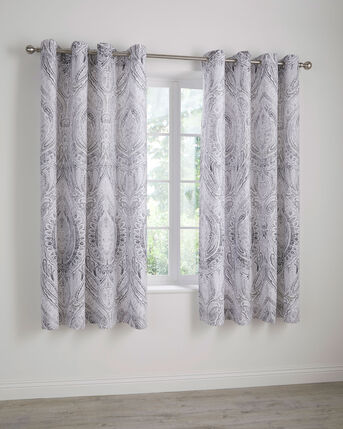 Paisley Eyelet Curtains 66x72""