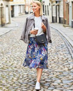 Swishy Pleated Midi Skirt