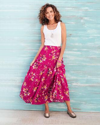 Raspberry Tiered Maxi Skirt
