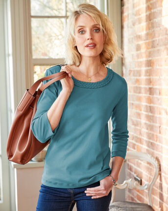 Perfect Plaited Trim Wrinkle Free Top
