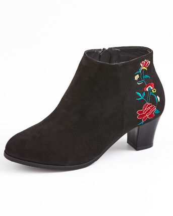 Embroidered Heel Ankle Boots