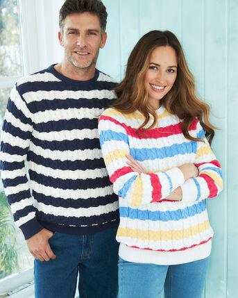 Cotton Cable Knit Stripe Crew Neck Jumper