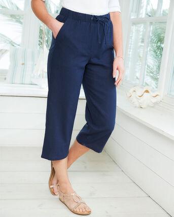 Linen-Blend Crop Trousers