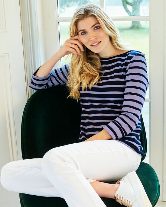 Wrinkle Free 3/4 Sleeve Stripe Jersey Top
