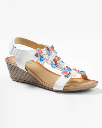 Floral Trim Wedge Sandals