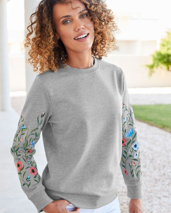 Embroidered Sleeve Sweatshirt