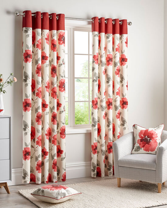 Poppy Eyelet Curtains 90X90""