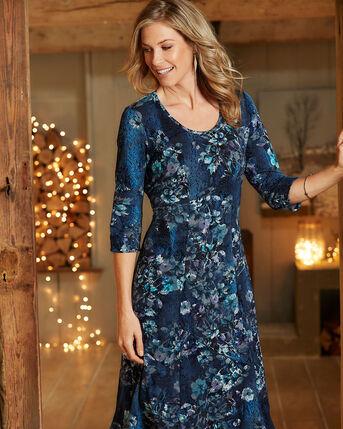 Floral Flock Print Dress