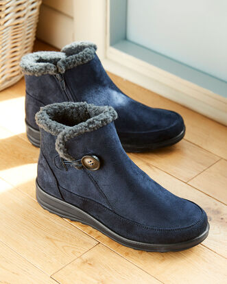 Sherpa Lined Button Ankle Boots