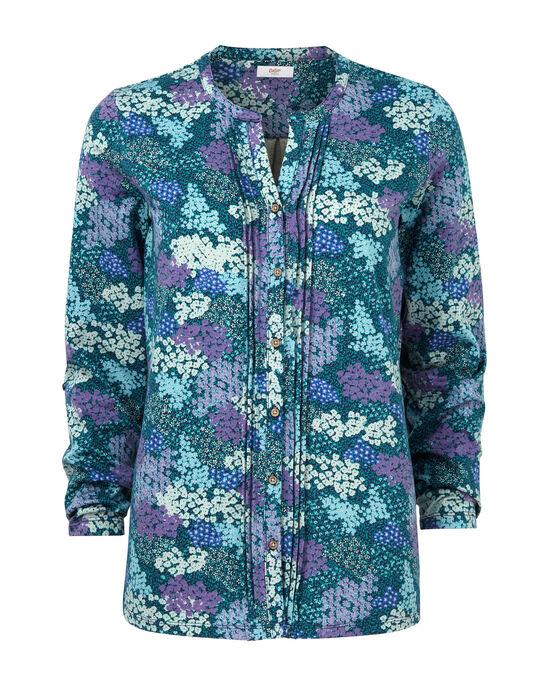 Blue Floral Jersey Blouse